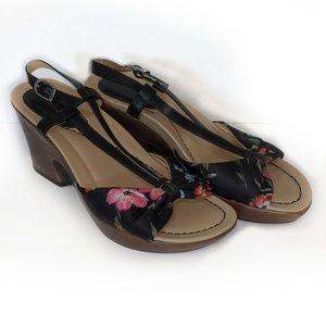 DANSKO leather & floral sandal sz 7/37